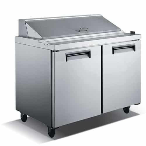 "Admiral Craft U-Star USSL-2D 48"" 2 Door Stainless Steel Refrigerated Sandwich Prep Table - 12 Cu Ft"