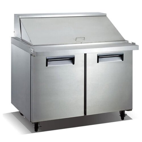 "Admiral Craft U-Star USSLM-2D 47"" 2 Door Mega Top Stainless Steel Refrigerated Sandwich Prep Table - 9.5 Cu Ft"