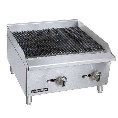 "Admiral Craft Black Diamond BDECTC-24/NG 24"" Gas Countertop Radiant Charbroiler - 60,000 BTU"