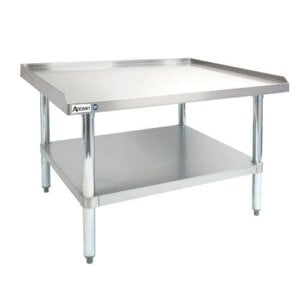 "Adcraft ES-2424 24"" x 24"" 16-Gauge Heavy Duty Stainless Steel Equipment Stand with Galvanized Adjustable Undershelf"