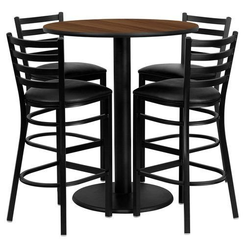 "36"" Round Walnut Laminate Table Set with 4 Ladder Back Metal Barstools – Black Vinyl Seat"