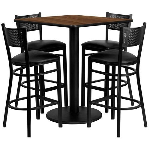 "36"" Square Walnut Laminate Table Set with 4 Grid Back Metal Barstools – Black Vinyl Seat"