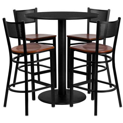 "36"" Round Black Laminate Table Set with 4 Grid Back Metal Barstools – Cherry Wood Seat"
