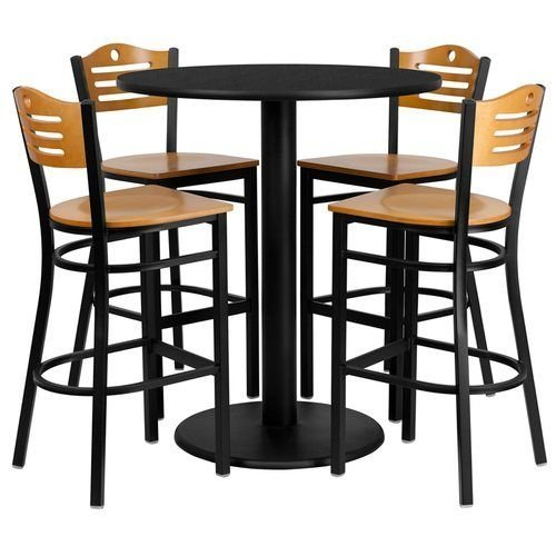 "36"" Round Black Laminate Table Set with 4 Wood Slat Back Metal Barstools – Natural Wood Seat"