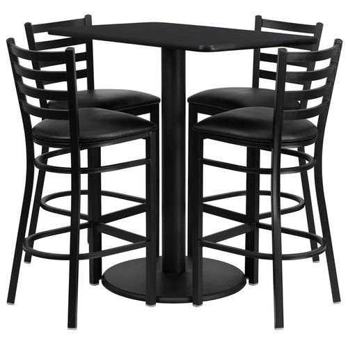 "24"" x 42"" Rectangular Black Laminate Table Set with 4 Ladder Back Metal Barstools – Black Vinyl Seat"