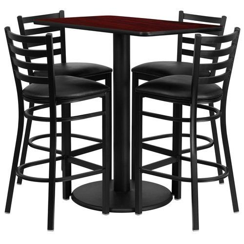 "24"" x 42"" Rectangular Mahogany Laminate Table Set with 4 Ladder Back Metal Barstools – Black Vinyl Seat"