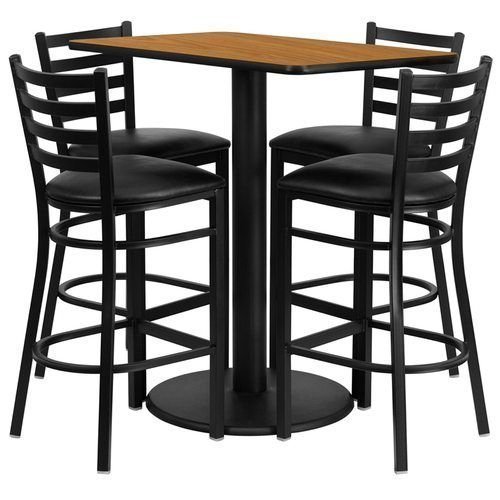 "24"" x 42"" Rectangular Natural Laminate Table Set with 4 Ladder Back Metal Barstools – Black Vinyl Seat"