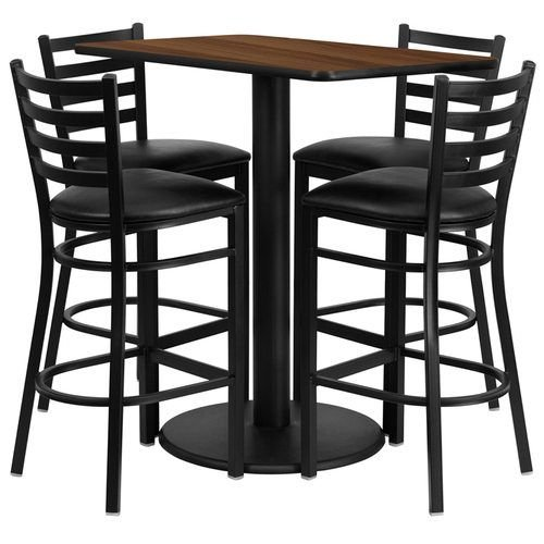 "24"" x 42"" Rectangular Walnut Laminate Table Set with 4 Ladder Back Metal Barstools – Black Vinyl Seat"