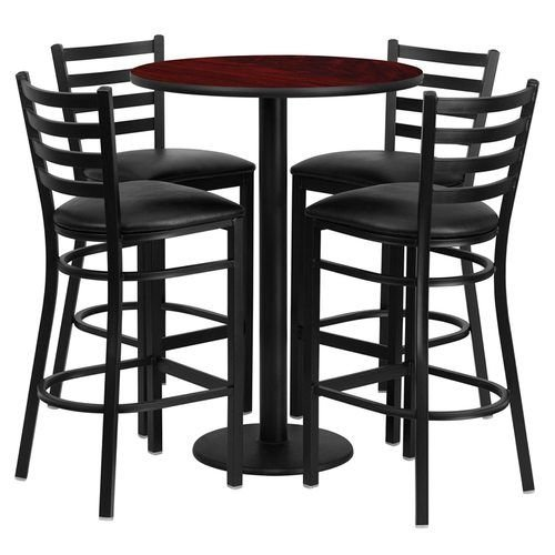 "30"" Round Mahogany Laminate Table Set with 4 Ladder Back Metal Barstools – Black Vinyl Seat"