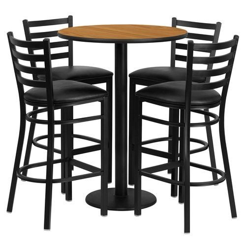 "30"" Round Natural Laminate Table Set with 4 Ladder Back Metal Barstools – Black Vinyl Seat"