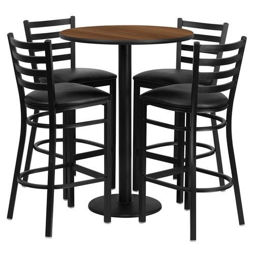 "30"" Round Walnut Laminate Table Set with 4 Ladder Back Metal Barstools – Black Vinyl Seat"