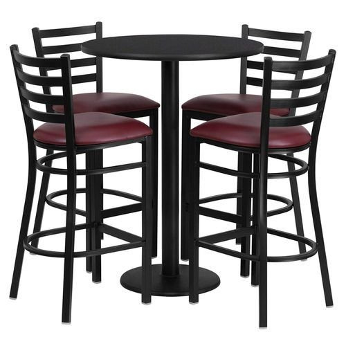 "30"" Round Black Laminate Table Set with 4 Ladder Back Metal Barstools – Burgundy Vinyl Seat"