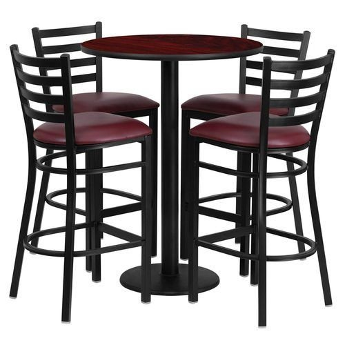 "30"" Round Mahogany Laminate Table Set with 4 Ladder Back Metal Barstools – Burgundy Vinyl Seat"