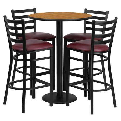 "30"" Round Natural Laminate Table Set with 4 Ladder Back Metal Barstools – Burgundy Vinyl Seat"