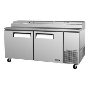 "Turbo Air TPR-67SD 67"" Pizza Prep Table w/ Refrigerated Base"