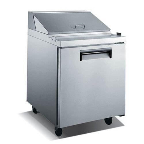 "Admiral Craft U-Star USSL-1D 27.5"" 1 Door Stainless Steel Refrigerated Sandwich Prep Table - 6 Cu Ft"