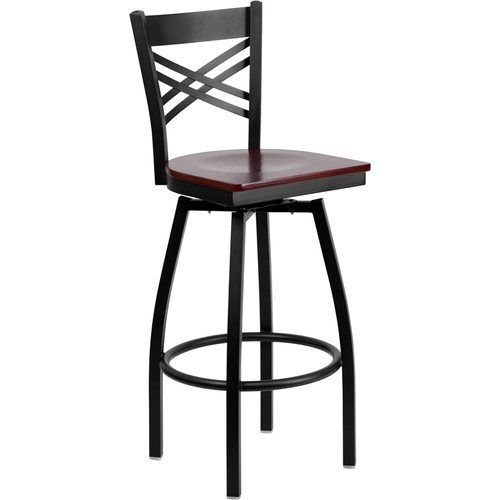 Black X Back Swivel Metal Barstool - Mahogany Wood Seat
