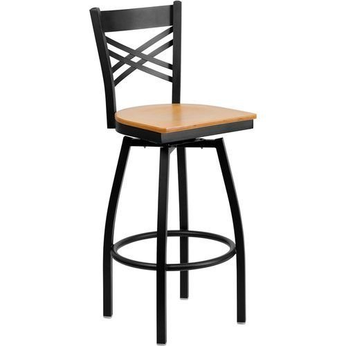 Black X Back Swivel Metal Barstool - Natural Wood Seat