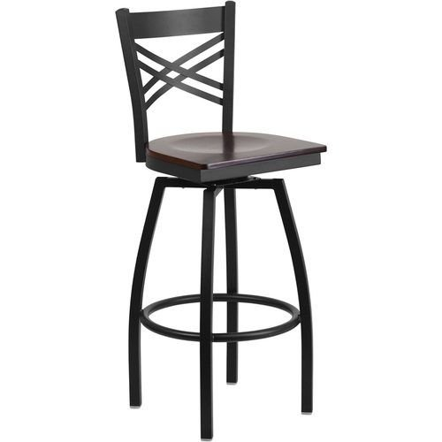 Black X Back Swivel Metal Barstool - Walnut Wood Seat