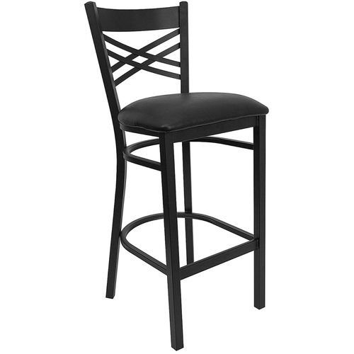Black X Back Metal Restaurant Barstool - Black Vinyl Seat