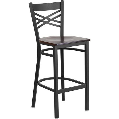 Black X Back Metal Restaurant Barstool - Walnut Wood Seat