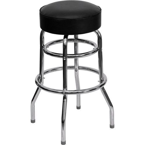 Double Ring Chrome Barstool with Black Vinyl Seat