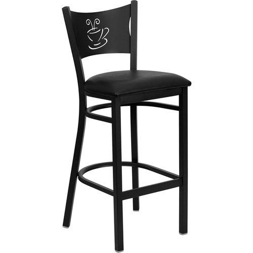 Black Coffee Back Metal Restaurant Barstool - Black Vinyl Seat