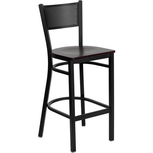 Black Grid Back Metal Restaurant Barstool - Mahogany Wood Seat