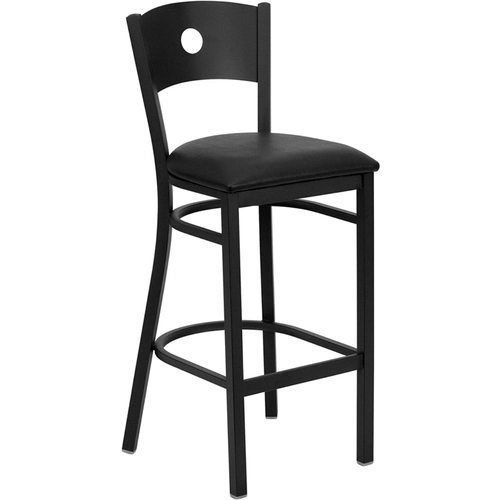 Black Circle Back Metal Restaurant Barstool - Black Vinyl Seat