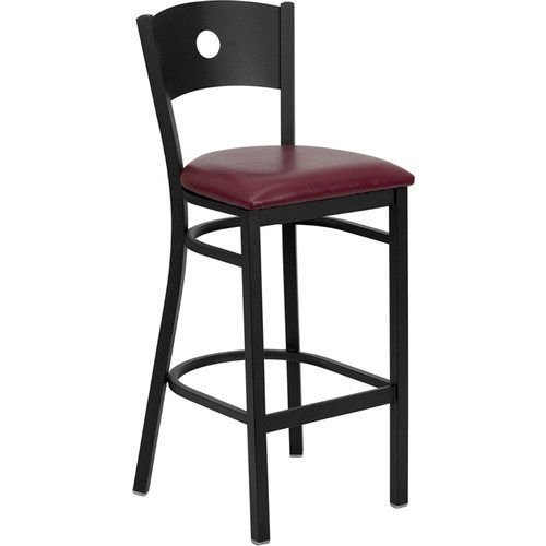 Black Circle Back Metal Restaurant Barstool - Burgundy Vinyl Seat
