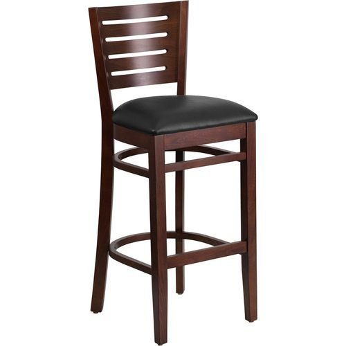 Slat Back Walnut Wooden Restaurant Barstool - Black Vinyl Seat