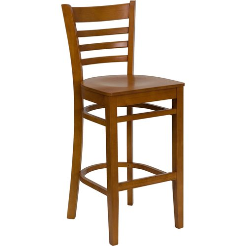 Cherry Finished Ladder Back Wooden Barstool - Cherry Wood Seat