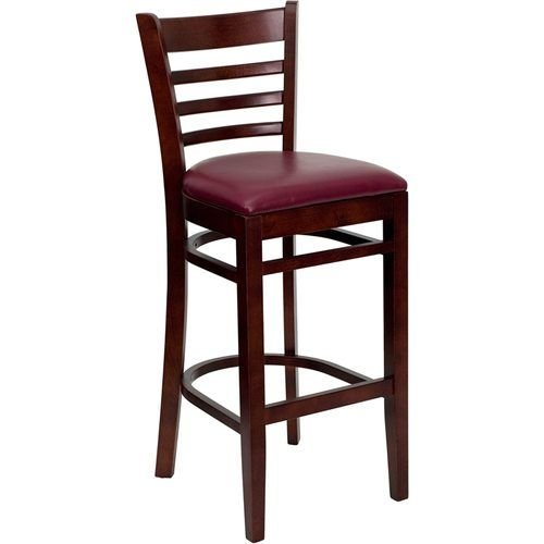 HERCULES Series Mahogany Finished Ladder Back Wooden Restaurant Barstool – Burgundy Vinyl Seat