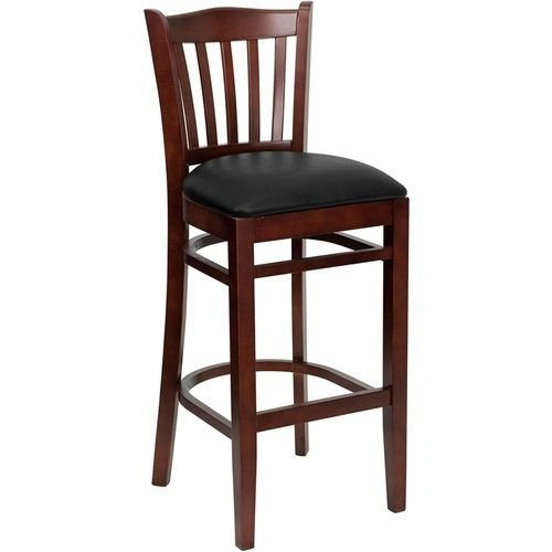 HERCULES Series Mahogany Finished Vertical Slat Back Wooden Restaurant Barstool – Black Vinyl Seat