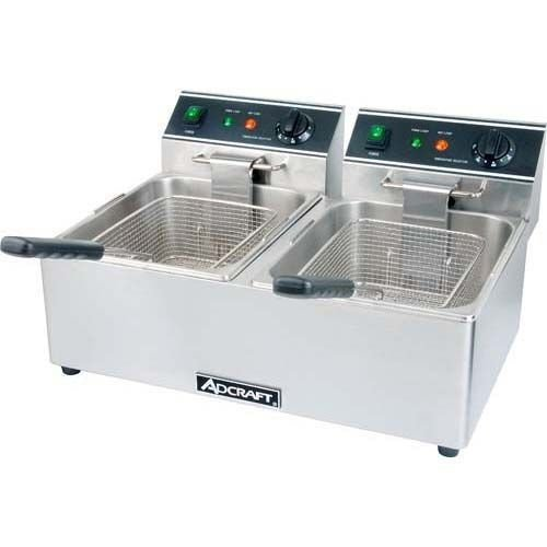 Adcraft DF-6L/2 Double Tank Electric Countertop Deep Fryer - 120V, 3500W