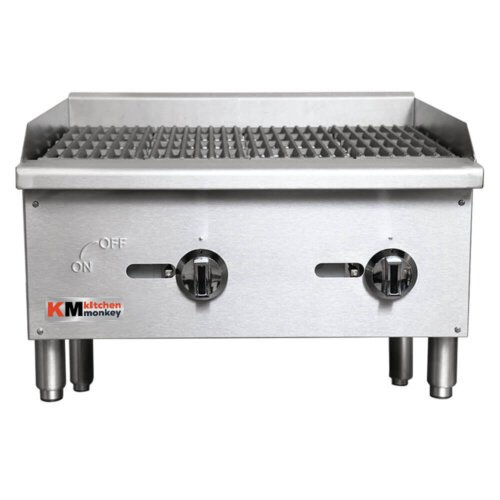 "Kitchen Monkey KMECTC-24/NG 24"" Gas Countertop Radiant Charbroiler - 60,000 BTU"