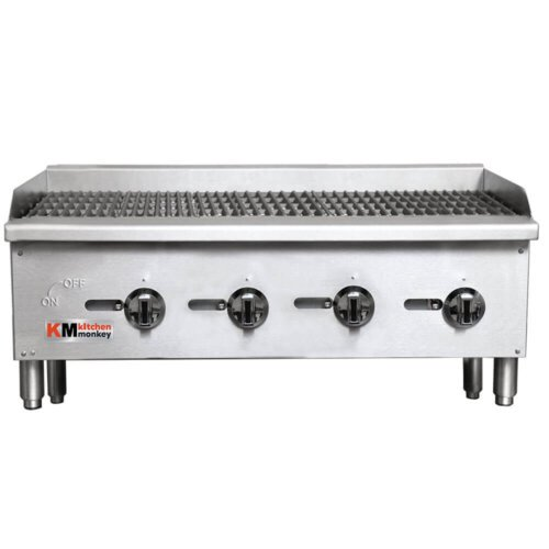 "Kitchen Monkey KMECTC-48/NG 48"" Gas Countertop Radiant Charbroiler - 120,000 BTU"