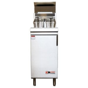Kitchen Monkey KMGF-120/NG Natural Gas 50 lb. Stainless Steel Floor Fryer - 120,000 BTU