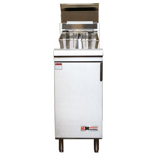Kitchen Monkey KMGF-90/LPG Liquid Propane 40 lb. Stainless Steel Floor Fryer - 90,000 BTU