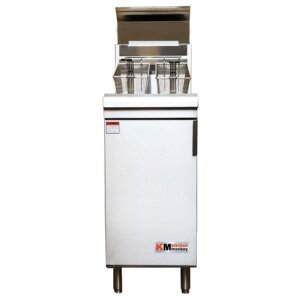 Kitchen Monkey KMGF-120/LPG Liquid Propane 50 lb. Stainless Steel Floor Fryer - 120,000 BTU