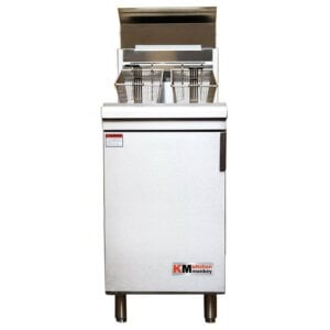 Kitchen Monkey KMGF-150/NG Natural Gas 70 lb. Stainless Steel Floor Fryer - 150,000 BTU