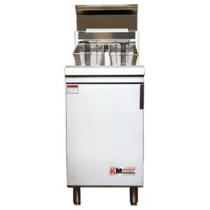 Kitchen Monkey KMGF-150/LPG Liquid Propane 70 lb. Stainless Steel Floor Fryer - 150,000 BTU