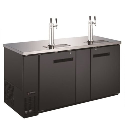 "Kitchen Monkey KMBD-6928/2 (2) Double Tap Kegerator 69"" Beer Dispenser (3) 1/2 Keg Capacity"