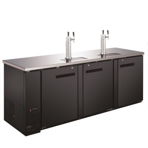 "Kitchen Monkey KMBD-9028/2 (2) Double Tap Kegerator 90"" Beer Dispenser (4) 1/2 Keg Capacity"