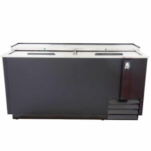 "Kitchen Monkey KMBC-65 65"" Black Horizontal Bottle Cooler"