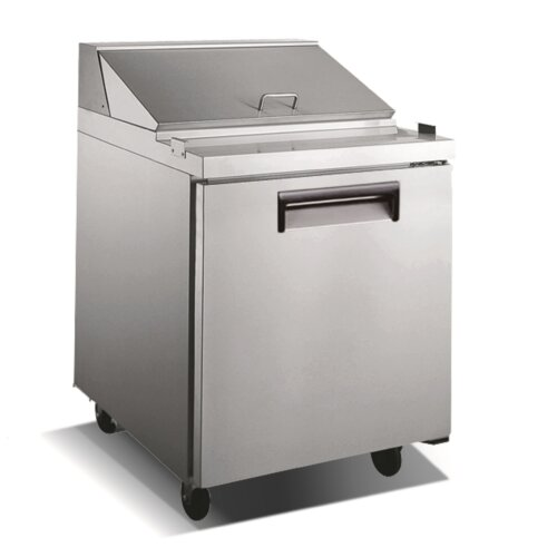 "Kitchen Monkey KMSL-1D 27.5"" 1 Door Stainless Steel Refrigerated Sandwich Prep Table - 6 Cu Ft"