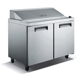 "Kitchen Monkey KMSL-2D 48"" 2 Door Stainless Steel Refrigerated Sandwich Prep Table - 12 Cu Ft"