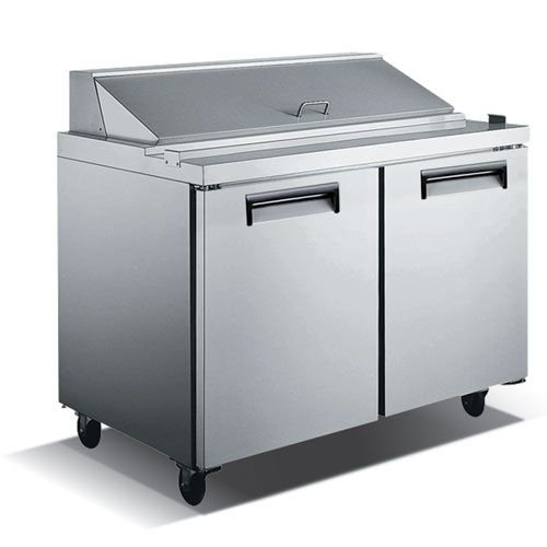 "Kitchen Monkey KMSL-2D/60 60"" 2 Door Stainless Steel Refrigerated Sandwich Prep Table - 15 Cu Ft"