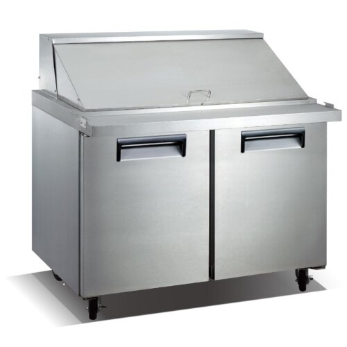 "Kitchen Monkey KMSLM-2D 47"" 2 Door Mega Top Stainless Steel Refrigerated Sandwich Prep Table - 9.5 Cu Ft"