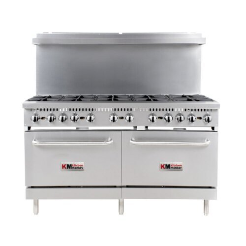 "Kitchen Monkey KMGR-60/NG Natural Gas 10 Burner 60"" Range with 2 Standard Ovens - 360,000 BTU"
